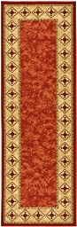 Sweet Home Dark Red Contemporary Bordered Design Runner Rug (1\'10X7\'0\'\') 22 Inch by 83 Inch