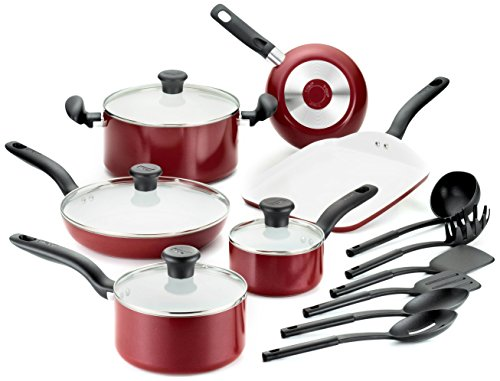 T-fal C914SG Initiatives Ceramic Nonstick PTFE-PFOA-Cadmium Free Dishwasher Safe Oven Safe Cookware Set, 16-Piece, Red