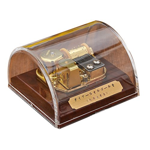 Laxury Creative Transparent Acrylic 18-note Wind-up Musical Box Dome Box with Stop Button,Musical Toys,Tune:Always with Me from the Spirited Away,Clear