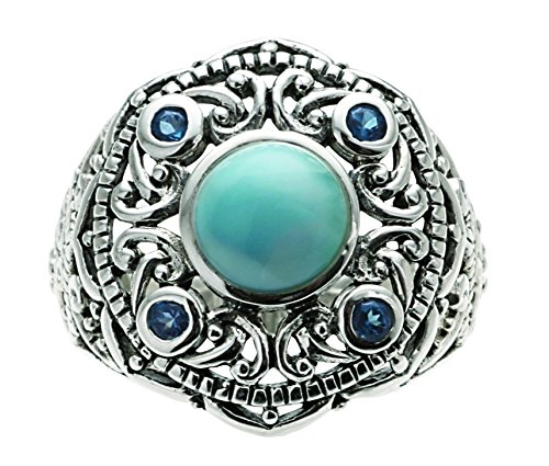 Larimar and Blue Topaz Filigree Sterling Silver Ring By Jewelry Artist J Nautora (Size 7)