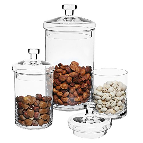 Set of 3 clear glass kitchen bath storage canisters for Bathroom containers with lids