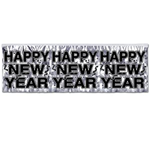 """Beistle 88493-S Silver Metallic Happy New Year Fringe Banner, 14"""" x 4', 12 Banners Per Package"""