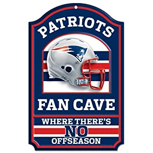 New England Patriots Wood Sign - 11x17 Fan Cave Design by Caseys