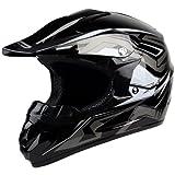 PGR X25 Youth Cobra Motocross MX BMX Dirt Bike Dune Buggy Enduro ATV Quad Off Road DOT Approved Helmet (Youth S, Black)