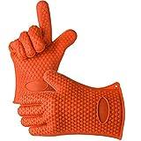 AmyTalk 鍋つかみ 耐熱 シリコン 手袋 防水 手袋 バーベキュー キッチングローブ 滑り止め クッキンググローブ 5本指キッチン手袋(オレンジ)