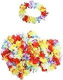 KurtzyTM Paquete 50 Diademas Hawaianas de Flores de Colores Tocado Disfraz Tropical Hula Playa
