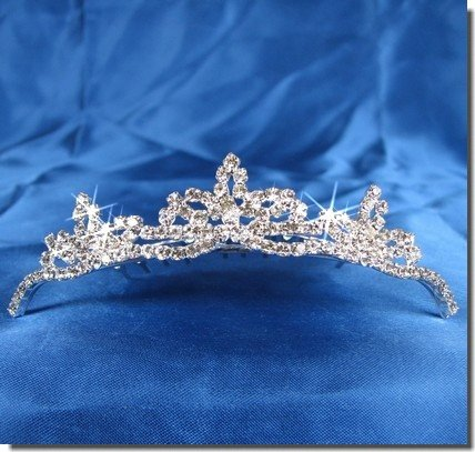 Bridal Wedding Tiara Comb With Three-Crystal Center 42774