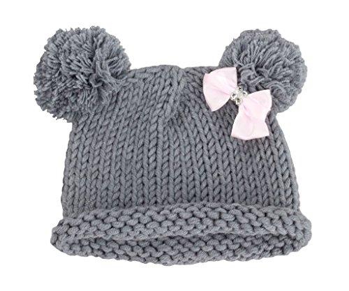 Bestknit Baby Girls Pompom Hat Props Crochet Knitted Pom Pom Hat Bow Beanie Medium Gray