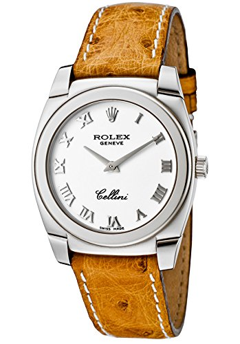 Rolex Women's Cellini 18k White Gold Case White Dial Chestnut Ostrich