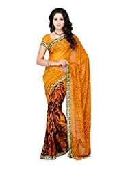 Fabdeal Yellow & Brown Georgette Printed Saree Sari Sarees