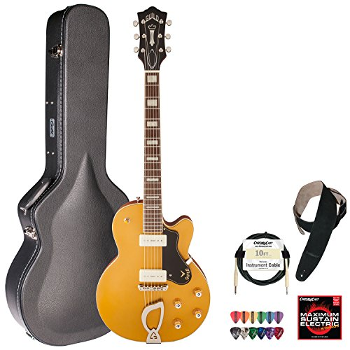Guild M-75 Aristocrat Gold Single Cutaway Hollowbody Electric Guitar With Guild Hard Case, Chromacast Electric Strings, Cable, Strap And Picks