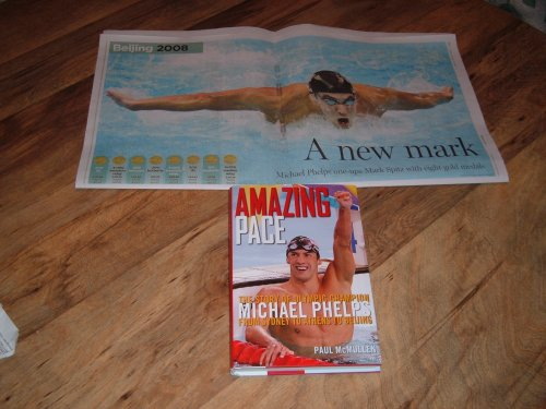 """Amazing Pace-Michael Phelps' 2006 Book & 2008 Michael Phelps 8 Gold Medals Newspaper Poster- 21 1/2"""" x 11 1/2"""""""