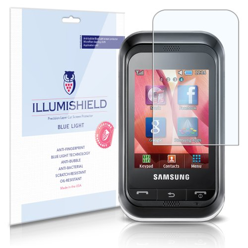 iLLumiShield - Samsung Champ  Blue Light UV Filter Screen Protector Premium High Definition Clear Film / Reduces Eye Fatigue and Eye Strain - Anti- Fingerprint / Anti-Bubble / Anti-Bacterial Shield - Comes With Free LifeTime Replacement Warranty -  Retail Packaging