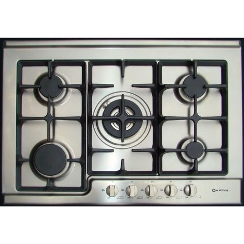 Verona VECTG532FS 30 Gas Cooktop 5 Sealed Burners, Electric Ignition, Cast Iron Grates - Stainless