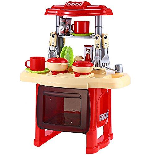 Children Kitchen Toys For Girls Cooking Toys Kids Pretend Play Sets Toys with Light Sound Effect Pretend Play Kitchen Items (color : Rose) (Lil Tikes Table compare prices)