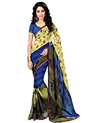 Look N Buy Sparkling Multicolour Coloured Printed Saree