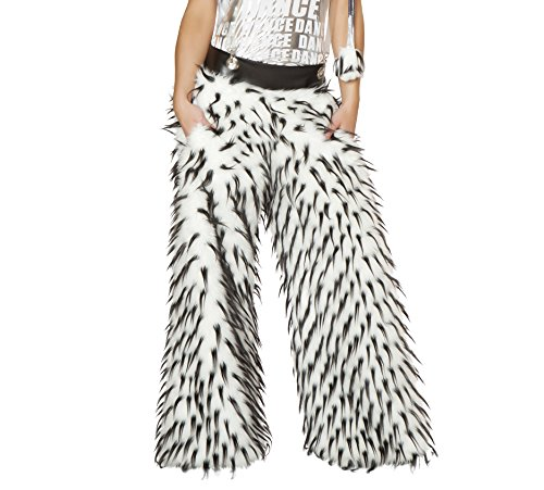 J. Valentine Women's Spike Faux Fur Pant with Pockets and Suspenders Fully Lined, White/Black, 34/36