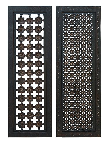 Deco 79 34088 Elegant Wall Sculpture Wood Wall Panel Assorted, 36/12-Inch, Set of 2