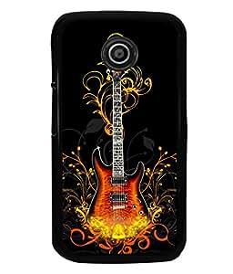 printtech Flaming Abstract Guitar Back Case Cover for Motorola Moto E2::Motorola Moto E (2nd Gen)