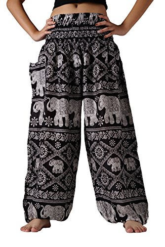 Bangkokpants Women's Yoga Pants Boho Elephant Design