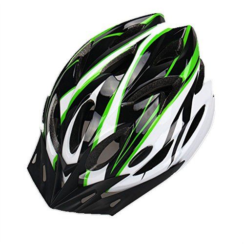 Bicycle Adult Helmet Mtb/Road Sports Bike Helmets Cycling Ultra-light Mountain Racing Road with Visor & 18 Vents (Black Green White) - Prosshop