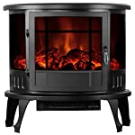 "Uenjoy 1500W 23"" Free Standing Electric Fireplace Heater Stove Realistic Flame Black"