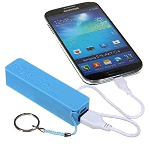 New Sky Blue 2600mAh Portable External Emergency Battery Charger Power Bank + Free 1 Noodle Style Flat Coloring USB Data Sync Cable For Samsung I9305 Galaxy S3 S-3 S III