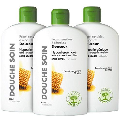 L'Arbre Vert Gel Douche Soin Douceur sans Savon Peaux Sensibles à Réactives 400 ml - Lot de 3