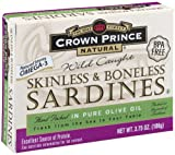 Crown Prince Natural Skinless and Boneless Sardines are prepared from only the highest quality Pilchard sardines available. These kosher sardines are packed in pure olive oil or water and are considered among the finest tasting sardines in the world. These popular sardines are firm in texture and delicate in flavor. Just one can provides almost half of the needed daily protein. Try them in salads, sandwiches, casseroles or straight out of the can.