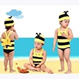 Christmas & New Year Gift Idea!HOTER? Cute Little Bee Child One-Piece Swimsuits (Swimming Cap Free)