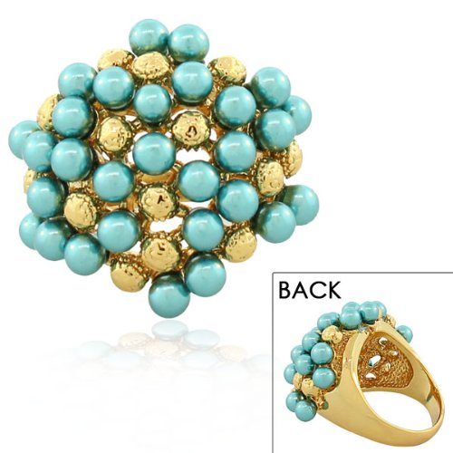 Stainless Steel Yellow Gold Plated Gold Plated Blue Turquoise Pearls Cocktail Womens Ring (7)