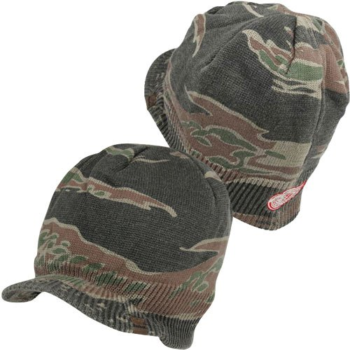 Reebok Detroit Red Wings Face Off Visor Knit Hat Camo at Amazon.com