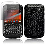 BLACKBERRY BOLD 9900 BLACK CROC SKIN PU LEATHER BACK COVER / CASE / SHELL / SHIELD + SCREEN PROTECTOR PART OF THE QUBITS ACCESSORIES RANGEby Qubits