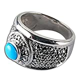 Love Gift Handmade Silver Turquoise Ring Indian Jewelry US Size 8 3/4 ~ ShalinIndia