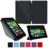 """rooCASE Amazon Kindle Fire HD 7 Case - (2013 Previos Generation) Origami Slim Shell 7-Inch 7"""" Cover with Landscape, Portrait, Typing Stand - BLACK (With Auto Wake / Sleep Cover)"""