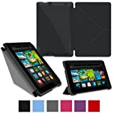 "rooCASE Amazon Kindle Fire HD 7 Case - (Current Generation) Origami Slim Shell 7-Inch 7"" Cover with Landscape, Portrait, Typing Stand - BLACK (With Auto Wake / Sleep Cover)"