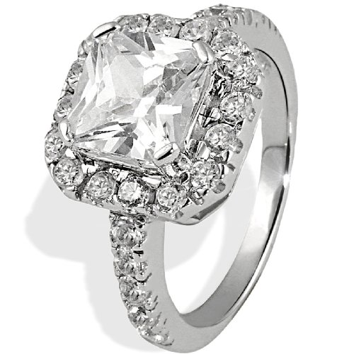 Sterling Silver Glamour Setting Ring Polished Wtih 1 Big White Zirconia and 26 White Cubic Zirconia By Goldmaid - Size K