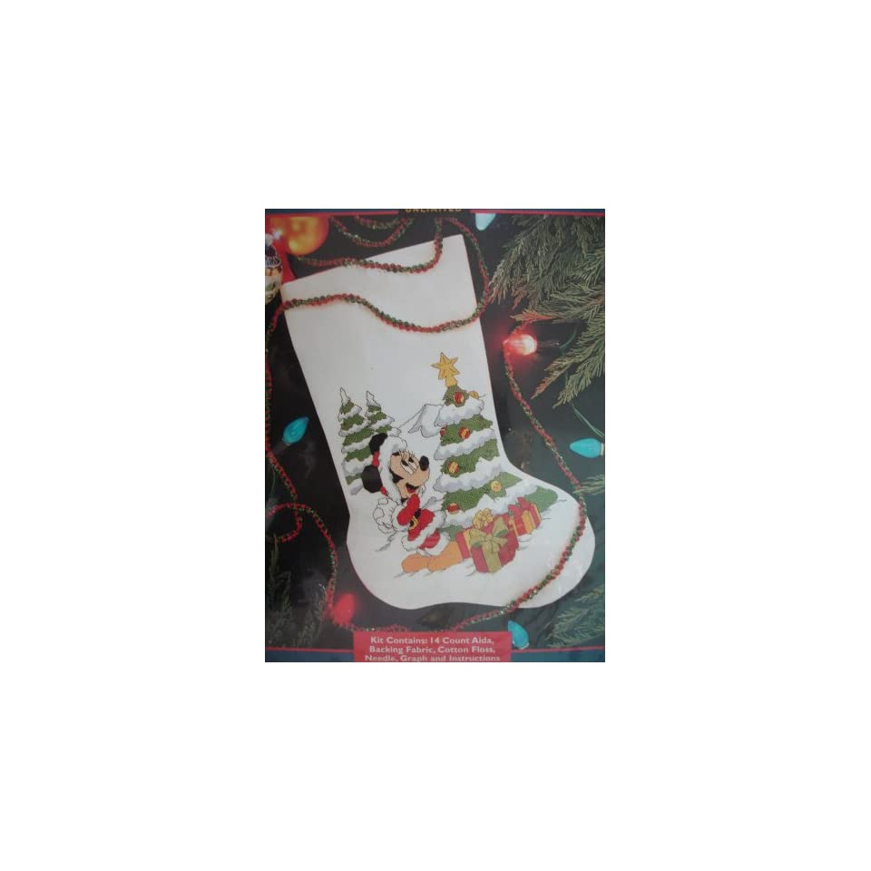 Disney Cross Stitch Christmas Stocking Patterns.Disney Presents For Minnie Christmas Stocking Cross Stitch