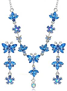 Capri Blue Hanging Butterfly Rhinestone SWAROVSKI CRYSTALS Flower Necklace And Earring Jewelry Set [Bridal Wedding Jewelry Sets] [Strawberry Gem]