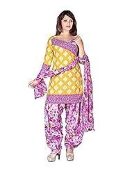 Rudra Yellow Patiyala Special Poly Cotton Unstitched Salwar Kameez Dupatta Dress Material-3111