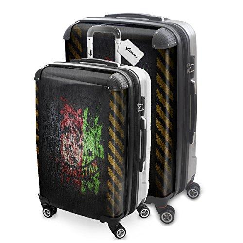 Drapeaux Signés Afganistan, 2 pièce Set Luggage Bagage Trolley de Voyage Rigide 360 degree 4 Roues Valise avec Echangeable Design Coloré. Grandeur: M, L