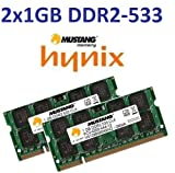 Dual Channel Kit: 2 x 1 GB = 2GB 200 pin DDR2-533 SODIMM (533Mhz, PC2-4200, CL4) - 100% kompatibel zu DDR2-400 (400Mhz, PC2-3200, CL3) für NOTEBOOKS