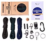 Premium Paracord Kit - DIY Paracord Bundle includes 3 x 350lb military grade paracord (total 36 feet), more than ten accessories, including steel shackles, buckles, carabiner, firestarters AND instructions for making paracord bracelets and keychains