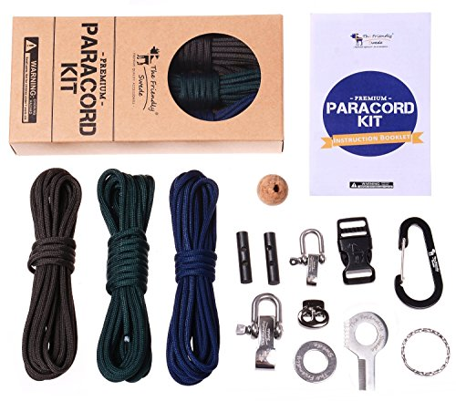 Premium Paracord Kit - DIY Paracord Bundle includes 3 x 350lb military grade paracord (total 36 feet), more than ten