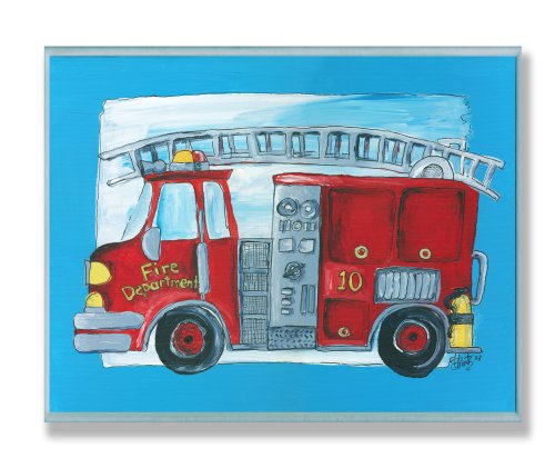 The Kids Room by Stupell Fire Truck with Blue Border Rectangle Wall Plaque