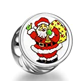 Rarelove Christmas Santa Claus gift bag cylindrical photo charm beads