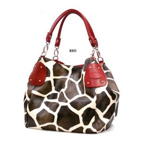 Red Large Giraffe Print Faux Leather Satchel Bag Handbag