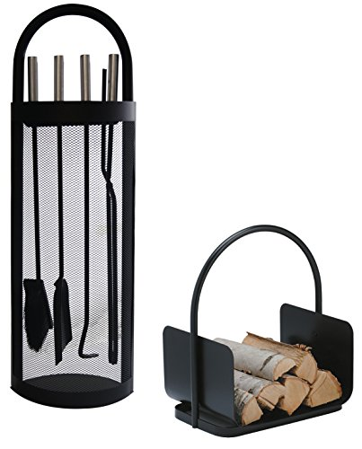 Alpertec cestino Set accessori per camino in ferro e legno, 2pezzi, colore nero, 39030860