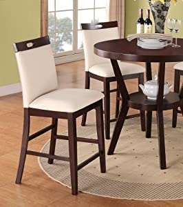 Counter Height Stools Amazon : Amazon.com - Bar Stools Counter Height Set of 2 Cream Leather Parson ...