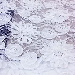 New 1Yard 91*130cm,3D Floral Chiffon Embroidered Lace Fabric,African Apparel Sewing Dress Patchwork Diy Cloth Material Tecido 1 White Flower
